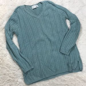 Prime Elements Teal Knitted Long Sleeve Sweater
